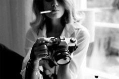 black n white, photographs, smoking, vintage cameras, photography women