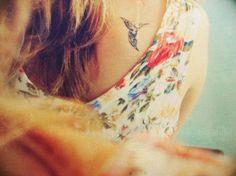 bird tattoo, back tattoo, hummingbird tattoo