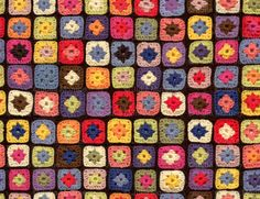 Granny square print fabric on Spoonflower