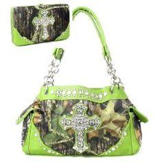 Western Green Camouflage Cross Rhinestone Handbag W Matching Wallet In Stock 62.99 FREE SHIPPING