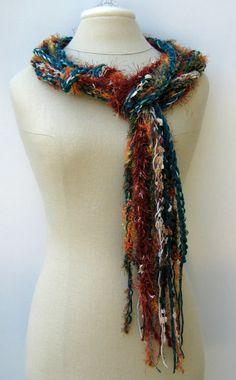 Teal autumn braids Gypsy Fringe Scarf skinny by PurpleSageDesignz, $ 19.00
