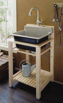 Utility sink stand - A shelf underneath the sink?