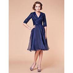 A-line V-neck Knee-length Organza Mother of the Bride Dress – US$ 149.99    Has a nice vintage appeal