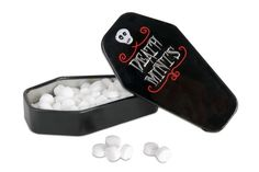 Death Mints - 100 death-defying mints. Coffin-shaped tin. $2.45.
