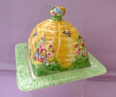 Antique Honey Dish | Royal Winton Beehive Butter Dish 1930'S