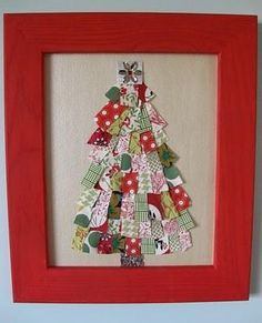 Fabric scrap tree! Can also do this with a heart for Valentine's Day.