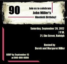 90th Birthday Invitations!
