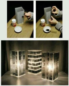 diy lamp- there were no links to this but as I see it: modge podge (?), glue tour photo negatives/or wallet size photos to a glass vase, & fill w/ candle or string lights. :-)