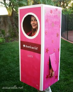 'A Casarella: DIY American Girl Box Halloween Costume.  Labels made with #PYP #PickYourPlum #Vinyl