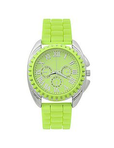 Stay stylishly punctual with a bold sunny lime active watch boasts sporty style with a rubber band. #LaneBryant