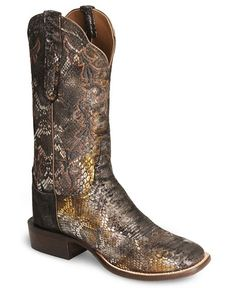 Handcrafted Lucchese Cowgirl Precious Metal Python Boot - Square Toe