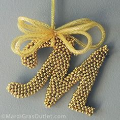 DIY beautiful letter decorations with mardigras beads