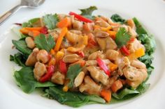 Creamy Peanut Chicken Over Greens. If you like chicken satay, you'll love this! | ShockinglyDelicious.com   #secretrecipeclub #chickendinner #healthydinner #asianrecipe #Glutenfree #nondairy