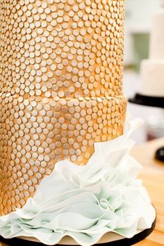 white cake, gold polka dots sequin wedding cake