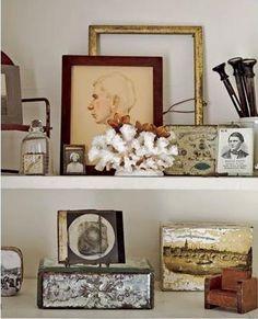 vintage display shelf vignette