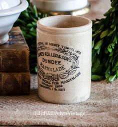 Antique English Marmalade Pot Dundee James by edithandevelyn on Etsy