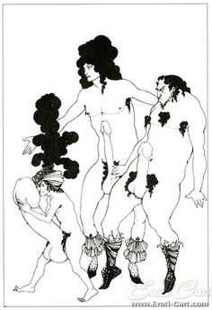Lysistrata 01 : Erotic Ink Drawing by Aubrey Beardsley.  (Name of drawing unknown).  1872 - 1898  Scene from Lysistrata