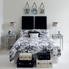 Black and White bedroom - except add a Tiffany blue accent wall...