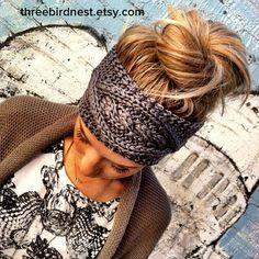 Gray Cable Knitted Headband Ear Warmer Grey by ThreeBirdNest, $28.99