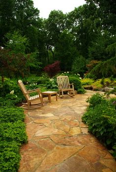 Flagstone patio with rockers - the perfect conversation nook... flagston patio, rocker, seclud garden