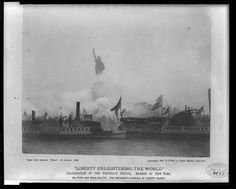 "October 28, 1886: Inauguration of the Statue of Liberty, ""Liberty Enlightening the World"", military and naval salute. Library of Congress.  One million people turned out for the first ticker tape parade in New York City, to cheer for the #StatueofLiberty. #americanhistory #history"