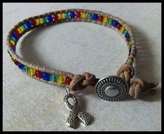 Natural Leather Autism Awareness Wrap by puzzlepiecejewelry, $20.00