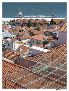 Lisbon roofs over one of the many peers on Tagus River #Portugal