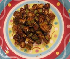 Okra ...slice into thin rounds, toss with 1 tsp olive oil, then mix 1 tsp salt, 2 tsp cumin, 2 tsp chili powder, dash garlic powder, 1/2 oz ground almonds and toss with okra. Bake at 400 for 20 min.