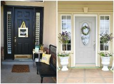 still trying to decide on a frontdoor color...love the black, but need an interior color too....?  #springintothedream