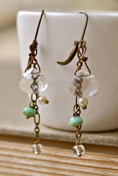 Baby's tears. crystal drop dangle by tiedupmemories on Etsy, $28.00