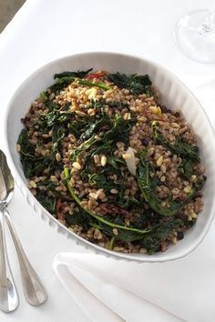 Toasted Farro with Kale, Currants and Pine Nuts
