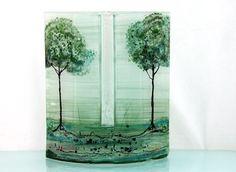 Fused glass  vase green grass landscape by virtulyglass on Etsy, $54.00