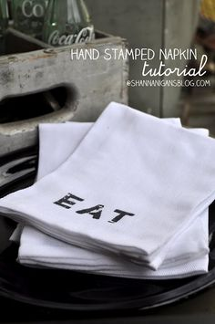 i seriously adore these! DIY Hand Stamped Napkins via Shannanigans
