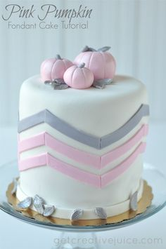 Pink Pumpkin Fondant Cake by @Mindy Burton CREATIVE JUICE