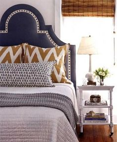 navy headboard - works with beige too