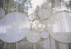 Doily Embroidered Hoops as party backdrop and decor