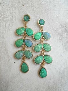 Glittering Peacock Earrings