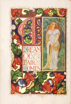 "Title page of Tennyson's ""A Dream of Fair Woman, by Alberto Sangorski"