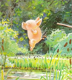by Holly Hobbie holly hobbie, ponds, little pigs, swimming holes, art, book, children, hobbies, holli hobbi