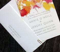 LOVE this watercolor letterpress invite suite by printerettepress