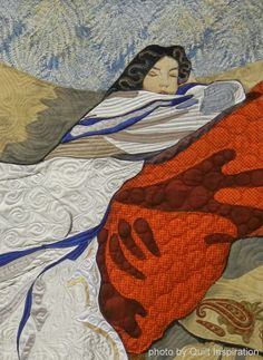 "close up, ""Woman at Rest""  by Jennifer June.  2014 AQS show, photo by Quilt Inspiration"