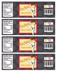 Karate Birthday Party Water Bottle Labels by missbellaexpressions,