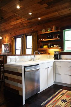 wood walls with white