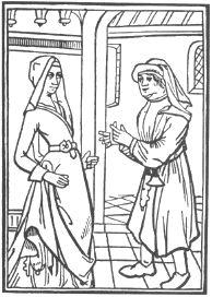 """TEATRO PROFANO: """"Primera escena de la divertida farsa titulada Maistre Pierre Pathelin (anónima y escrita hacia 1464), según los expresivos grabados de la edición de P. Levet (París, hacia 1489). Pathelin, abogado sin pleitos, se lamenta con Guillemette, la cual se queja de que no puede comprarse ricas telas para sus vestidos. Pathelin recurrirá a una argucia para contentar a su mujer."""" Martín de Riquer"""