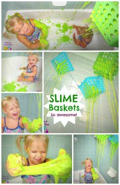 Slime baskets in the bath- SO FUN and NO MESS after!  I can not wait to do this activity with my little ones again!  Just AWESOME!