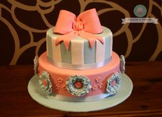 Cake with ribbon and flowers..