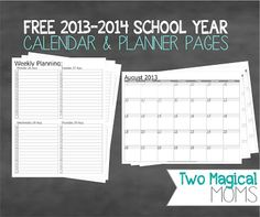 FREE 2013-2014 School Year Calendar and Planner Pages