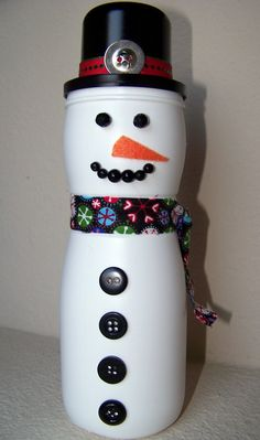 Christmas craft for kids using an empty Gerber puffs container - cute! maybe a creamer bottle too