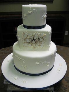 navy blue and gold cakes | Navy and gold monogram wedding cake www.stephaniethebaker.com | Flickr ...