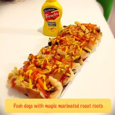 Posh dogs with maple marinated roast roots